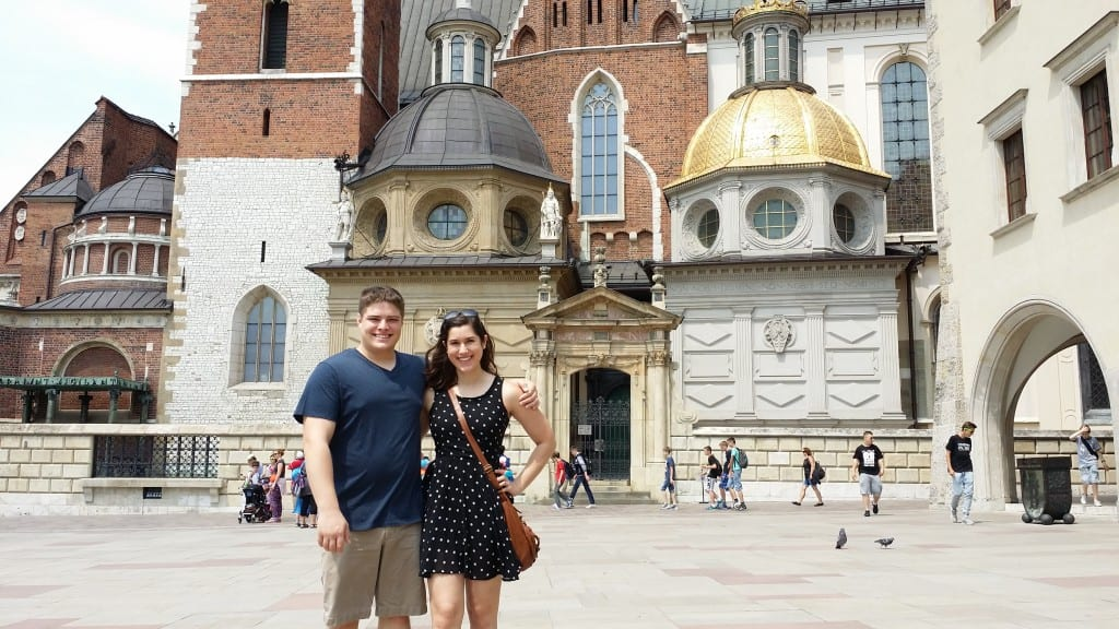 Kate Storm and Jeremy Storm at Wawel Castle, Krakow on their first 2 week Europe trip.