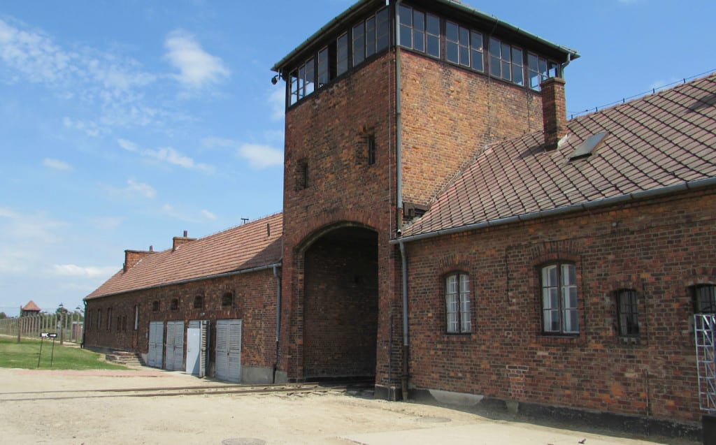 Train station entrance to Birkenau work camp memorial and museum outside of Krakow Poland