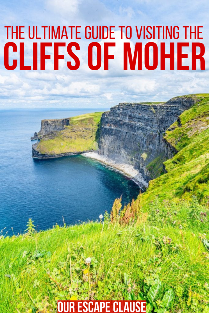 "Photo of a beach at the Cliffs of Moher in Ireland, red text on the image says ""The Ultimate Guide to Visiting the Cliffs of Moher"""