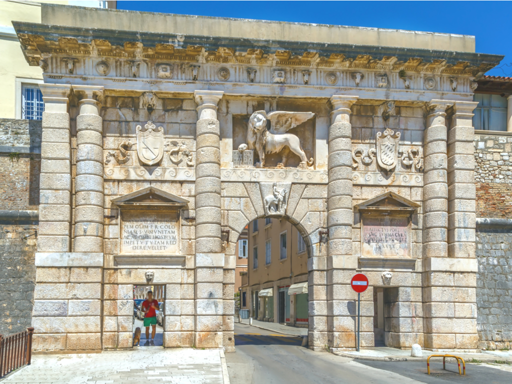 land gate in zadar croatia with winged horse of st mark in the center