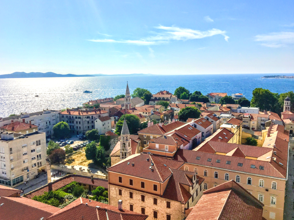 view of zadar cityscape from the cathedral bell tower, one of the best things to do in zadar croatia