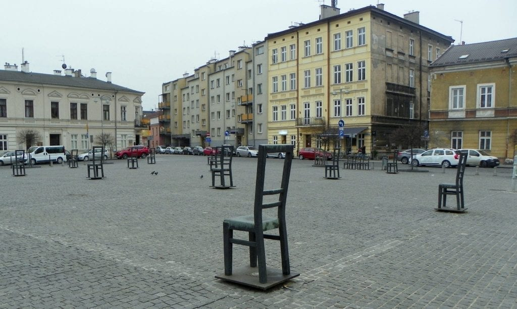 Ghetto Heroes Square in Krakow Poland on a cloudy day