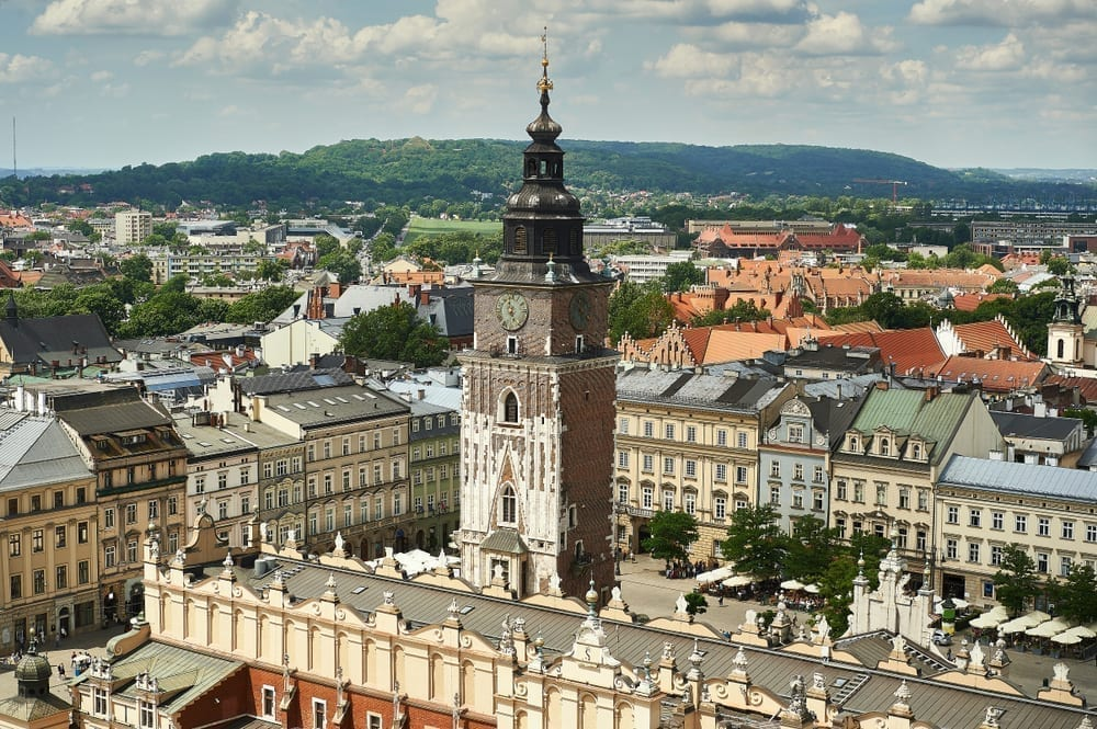 View of Town Hall Tower with Cloth Hall in the foreground in Main Market Square, one of the best things to see in Krakow Poland