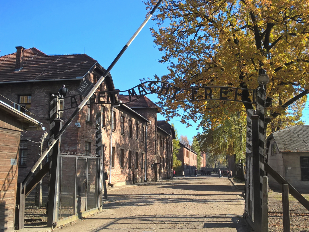 """infamous gate that greets people who visit auschwitz from krakow, which reads """"work will set you free"""""""