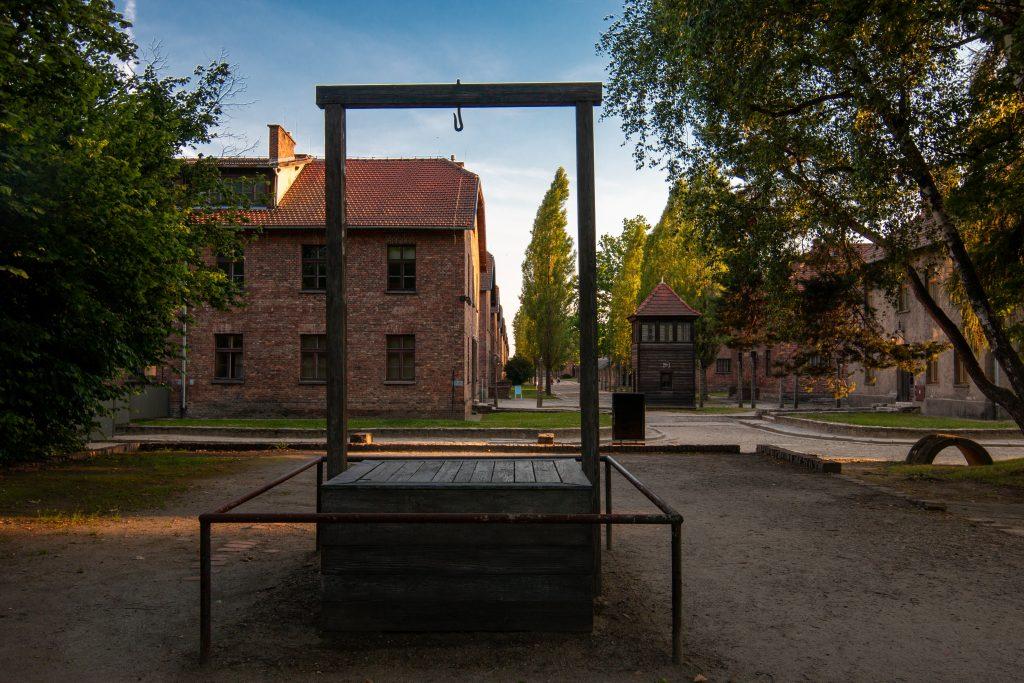wooden gallows as seen when visiting auschwitz poland