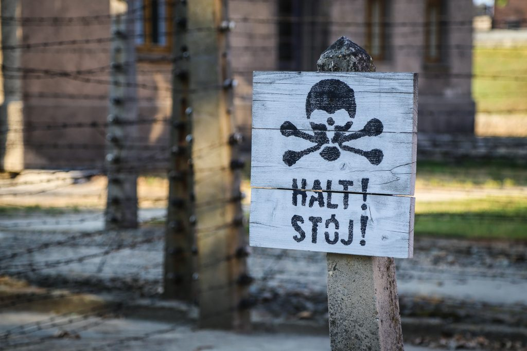 """sign with skull and bones reading """"halt stop"""" next to train tracks"""