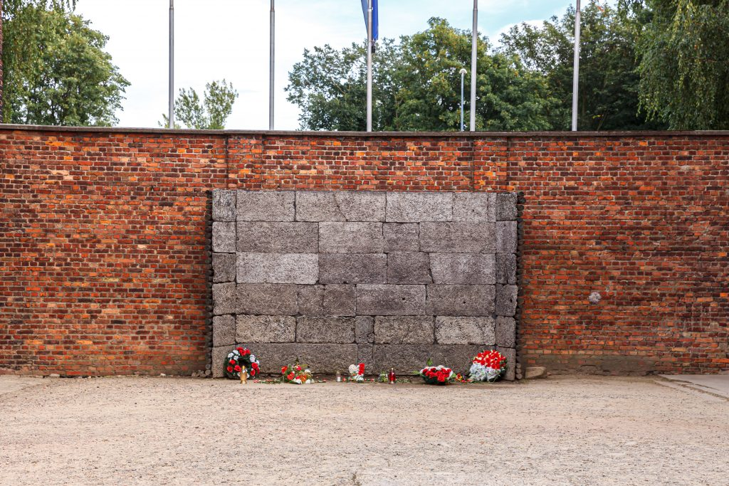 black wall of auschwitz tour with flowers at its base