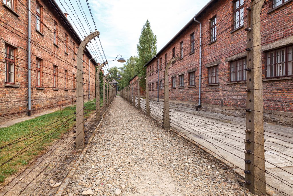 brick barracks lined with barbed wire fences in auschwitz poland