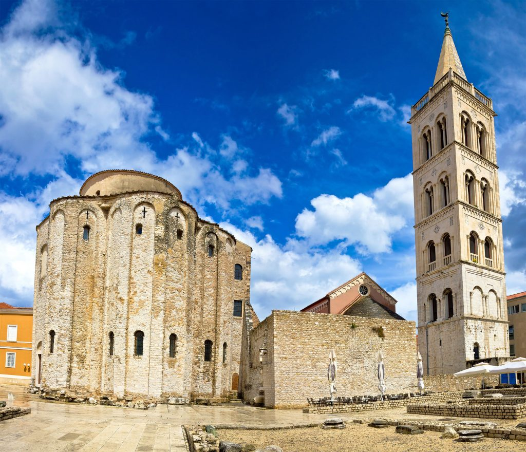 exterior of st donatus church and bell tower on a sunny day, one of the fun things to do in zadar croatia