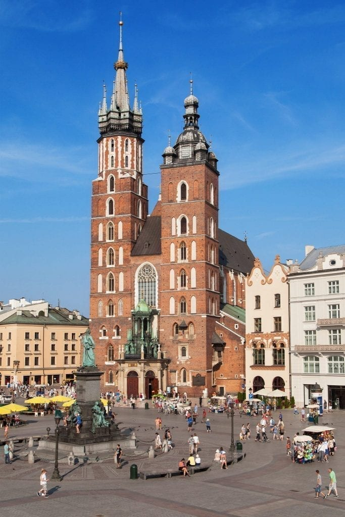 View of St. Mary's Basilica in Main Market Square, a must-see destination when visiting Krakow in 2 days!
