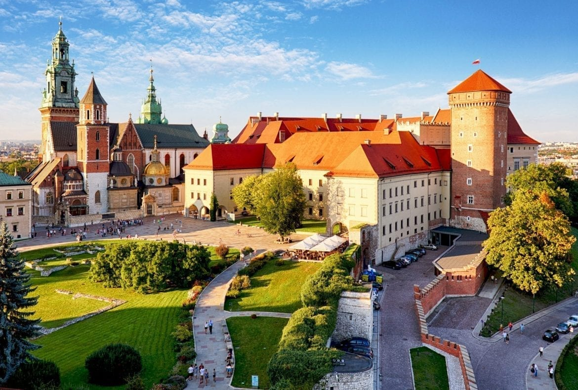 View of Wawel Castle from above--don't miss this gorgeous castle during your 2 Days in Krakow Poland!