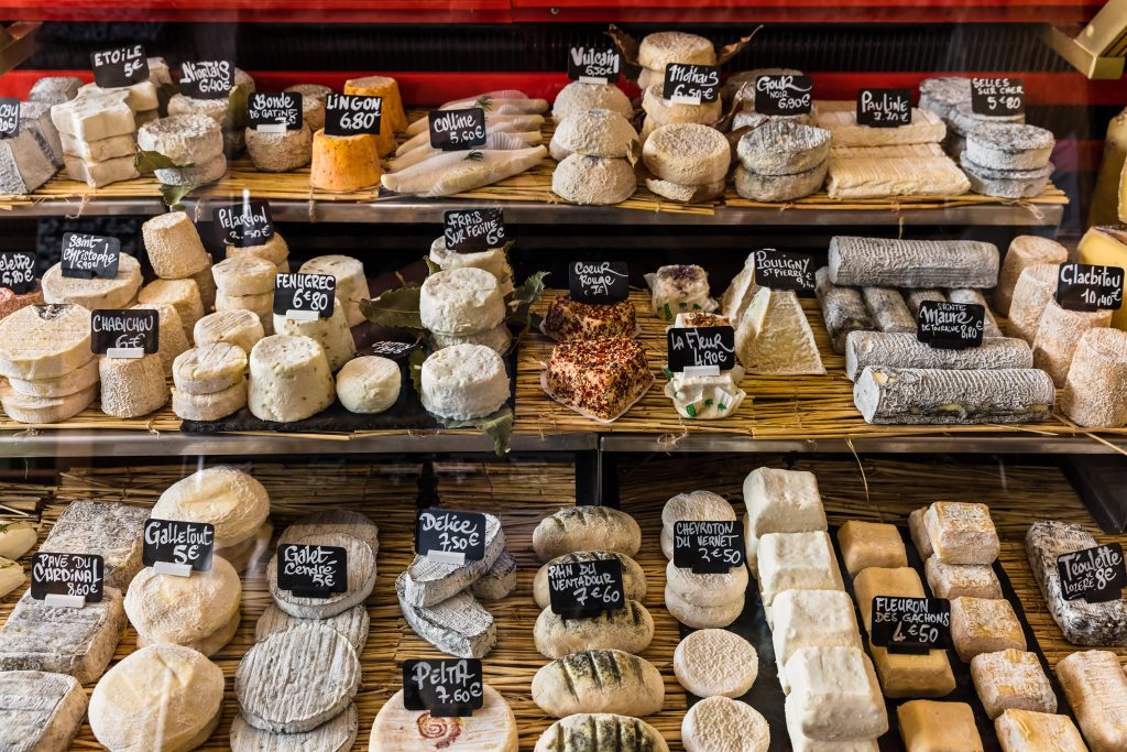 display of french cheeses in paris