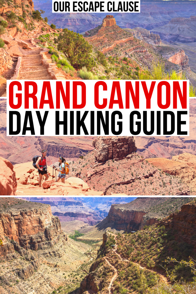 "3 photos of hiking trails grand canyon, red and black text on a white background reads ""grand canyon day hiking guide"""