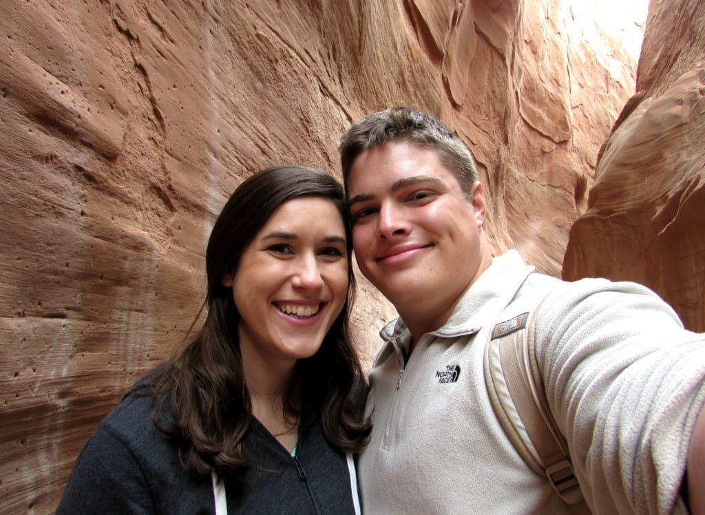 Kate Storm and Jeremy Storm taking a selfie in Spooky Canyon Utah