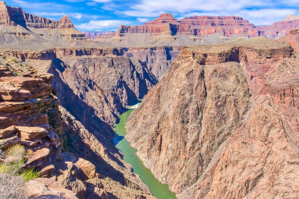 view of the colorado river from plateau point on bright angel trail, one of the popular south rim grand canyon day hikes