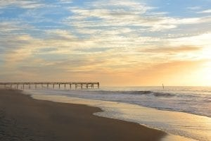 Sunrise over Atlantic Beach North Carolina's pier--sunrises and sunsets definitely belong on your list of what to do in atlantic beach