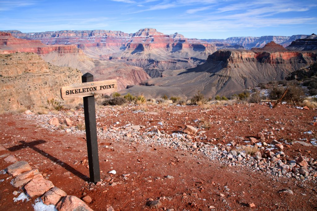 view from skeleton point viewpoint grand canyon with sign in the left foreground