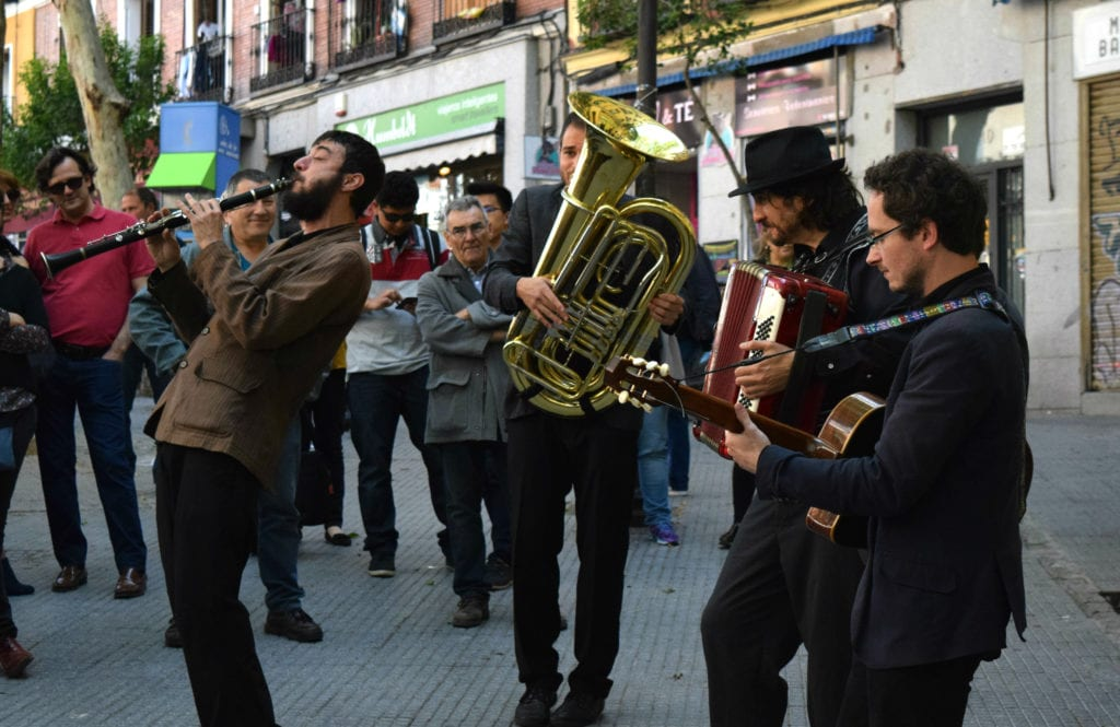Lively band playing at El Rastro Madrid Spain