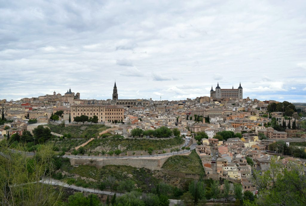 View of Toledo Spain from across the Tagus River, as seen on a day trip to Toledo Spain