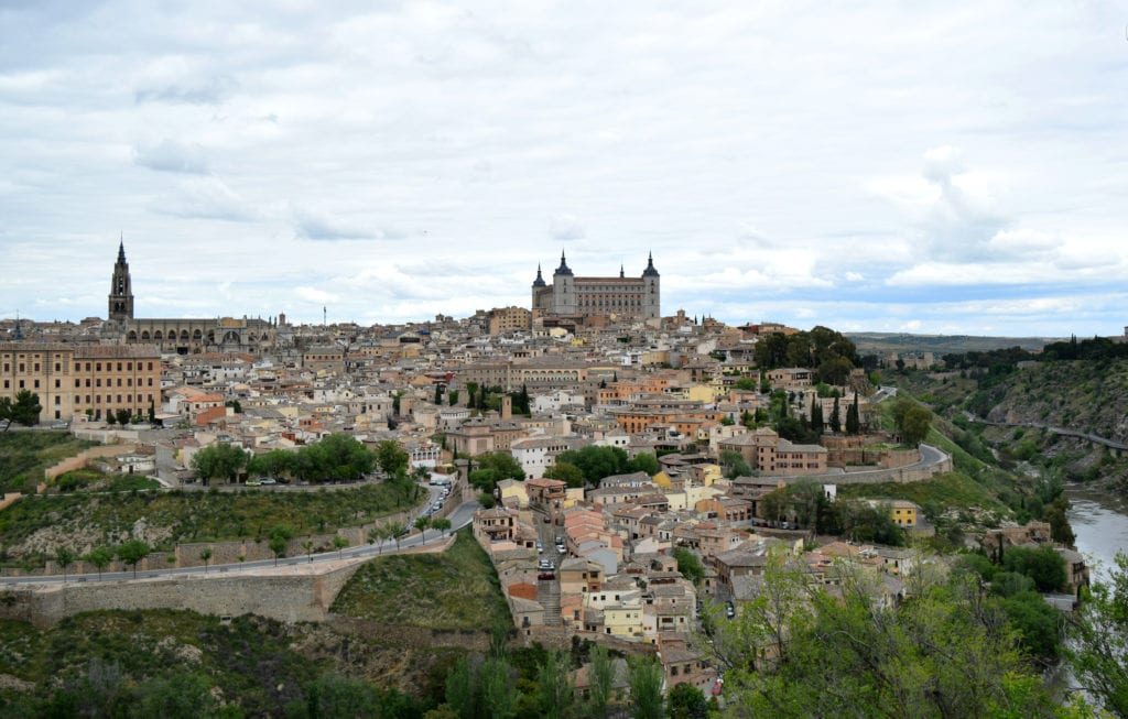 View of Toledo Spain from across the Tagus River, as seen on a day trip from Madrid