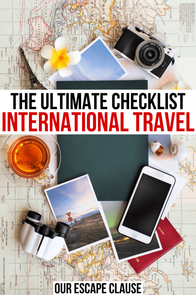 """Flat lay of a phone, camera, and photos on a map with black and red text in a white background that reads """"the ultimate international travel checklist"""""""