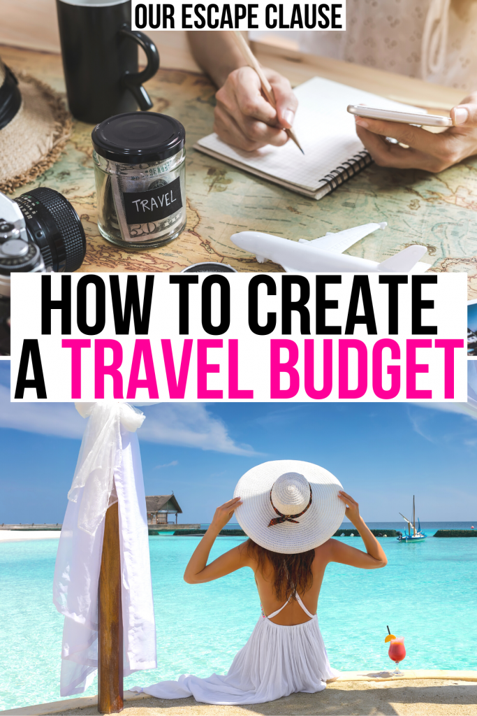 """2 budgeting travel photos: a woman writing a travel budget on a notebook and a woman in the caribbean wearing a sunhat. black and pink text on a white background reads """"how to create a travel budget"""""""