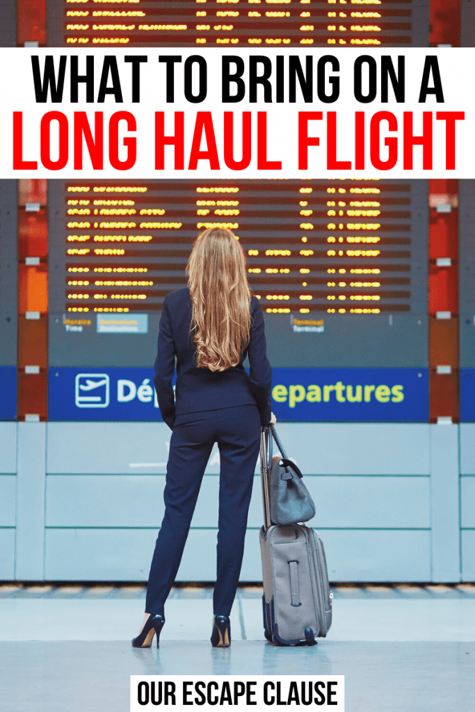 Photo of a woman with long blond hair standing in front of a departures board in an airport. Black and red text on a white background reads what to bring on a long haul flight essentials
