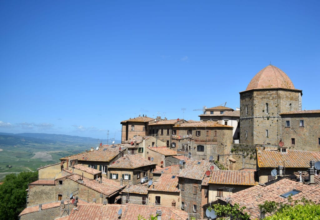 Photo of Volterra as seen from outside the town--Volterra is an excellent addition to any road trip in Tuscany.