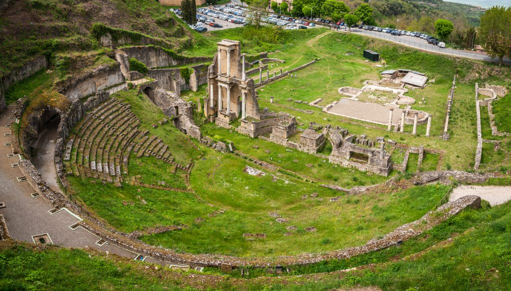 view of roman amphitheater, one of the best attractions in volterra italy