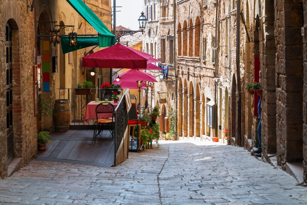 quiet street seen while exploring on foot, one of the fun things to do in volterra italy