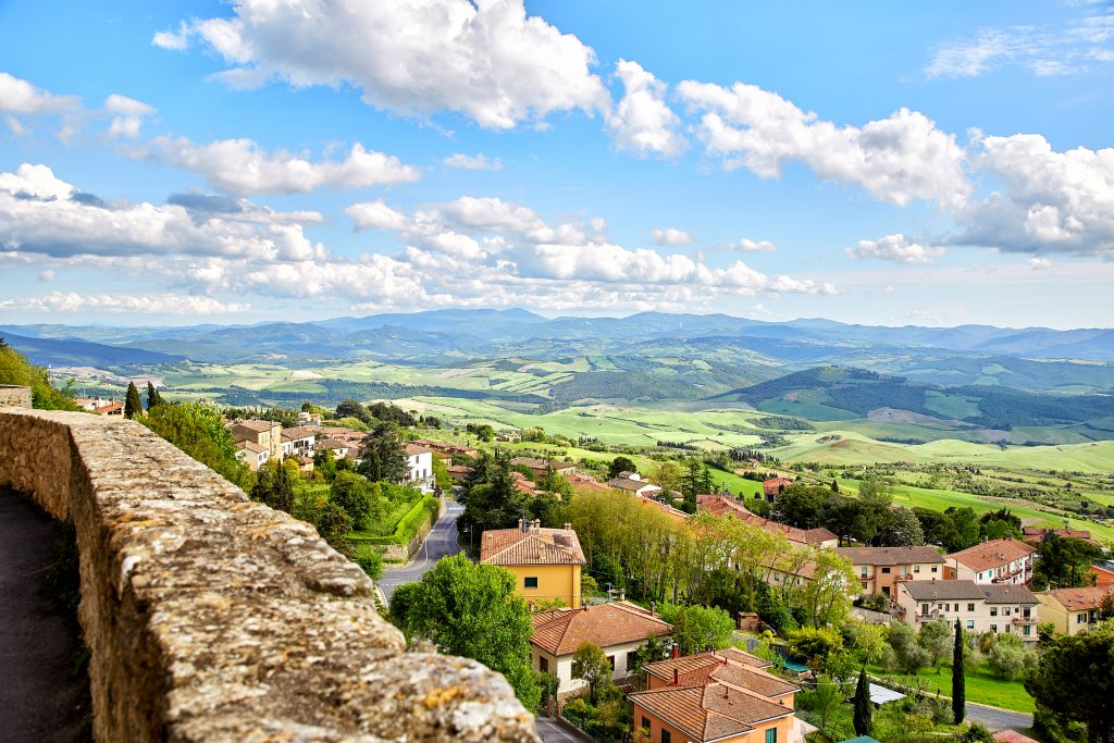 view of tuscan countryside as seen from volterra italy