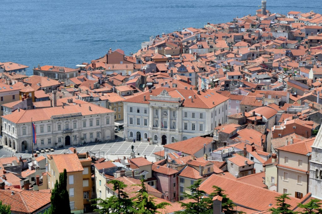 View of the central square of Piran Slovenia from above--don't miss this view when looking for things to do in Piran!