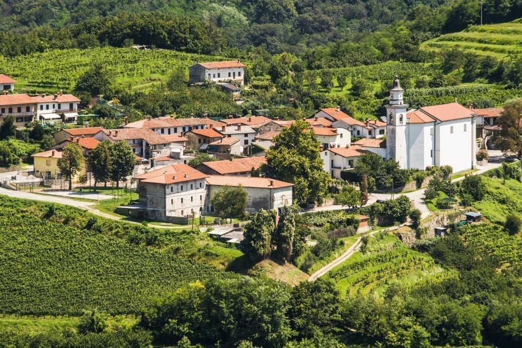 Village in the Brda Region from above, surrounded by grapevines, one of the best places to visit in Slovenia