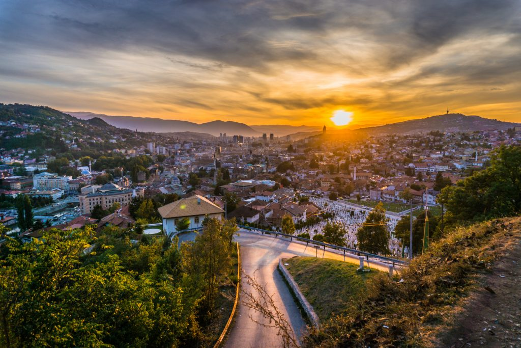 sunset from the yellow fortress, one of the best things to do sarajevo bosnia