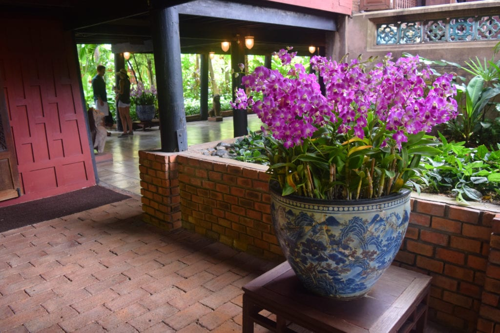 purple flowers in a mansion in bangkok thailand