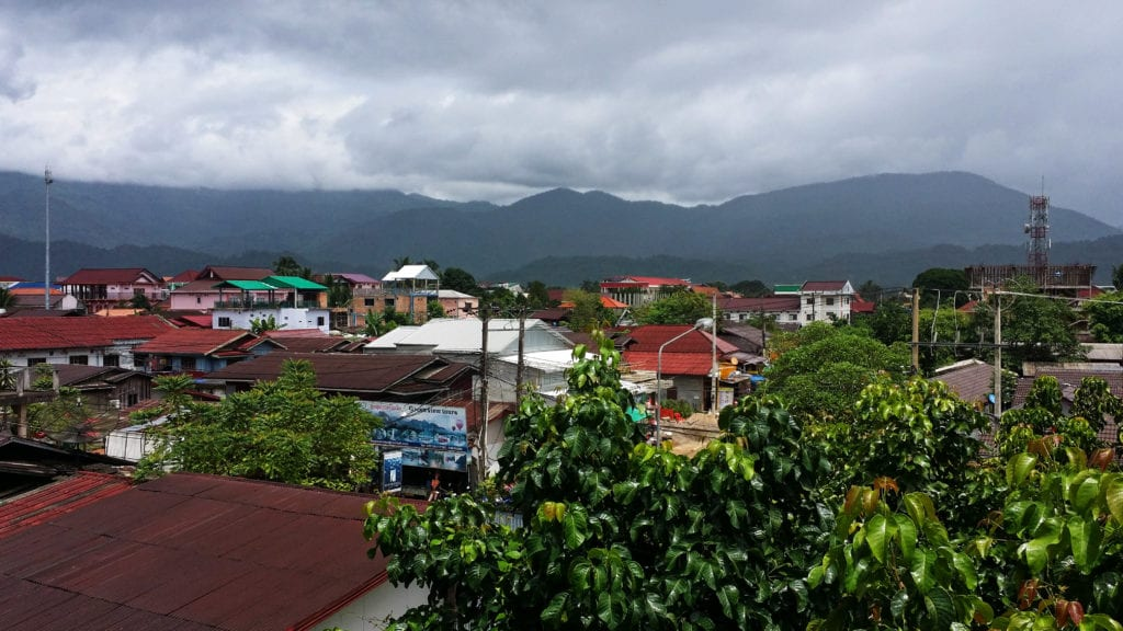 vang vieng from above on a cloudy day