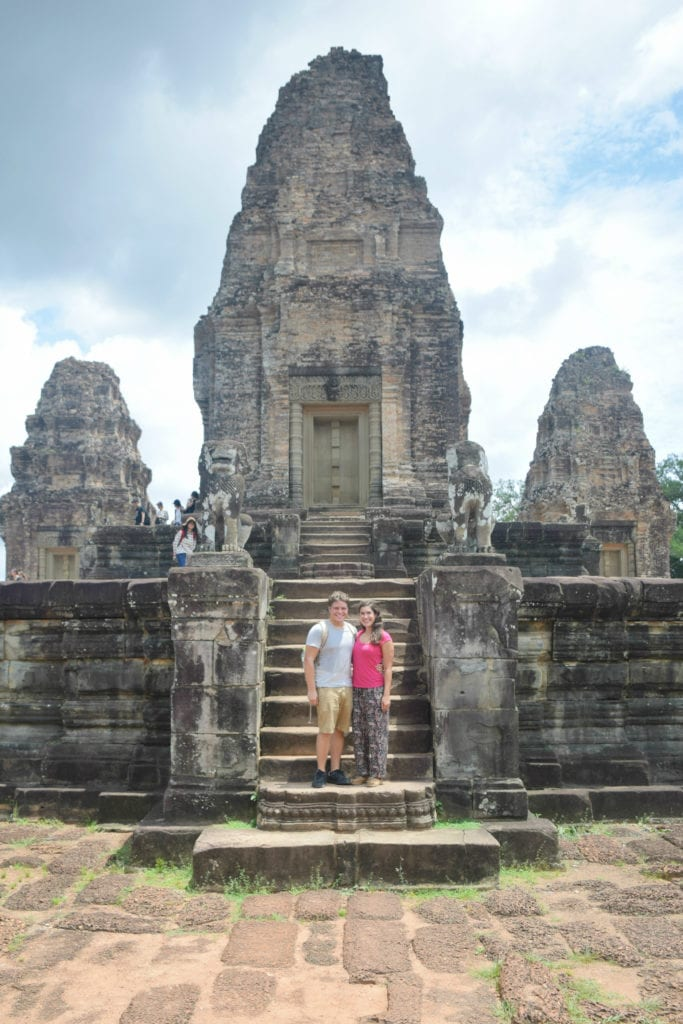 kate storm jeremy storm in front of a temple at angkor wat cambodia