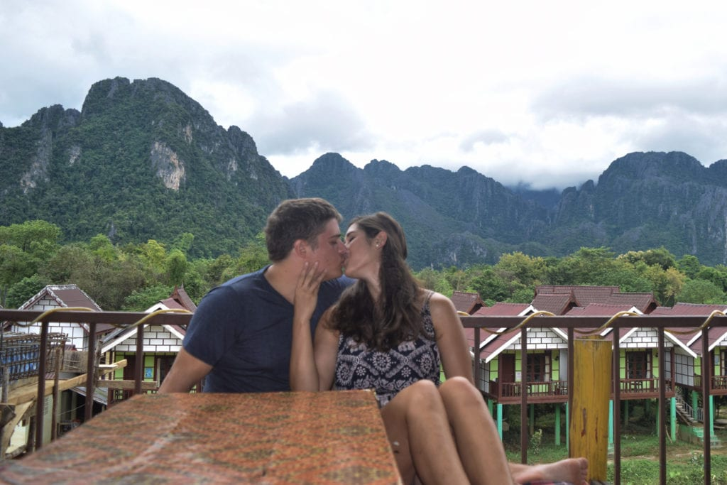 kate storm and jeremy storm in vang vieng, wondering if they picked the best time to visit laos