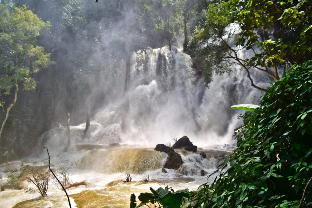 kuang si waterfall during the rainy season in laos