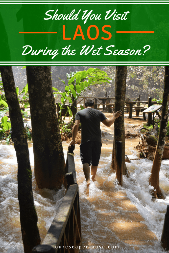 """jeremy storm at the flooded kuang si falls, white and orange text on a green background reads """"should you visit laos during the wet season"""""""