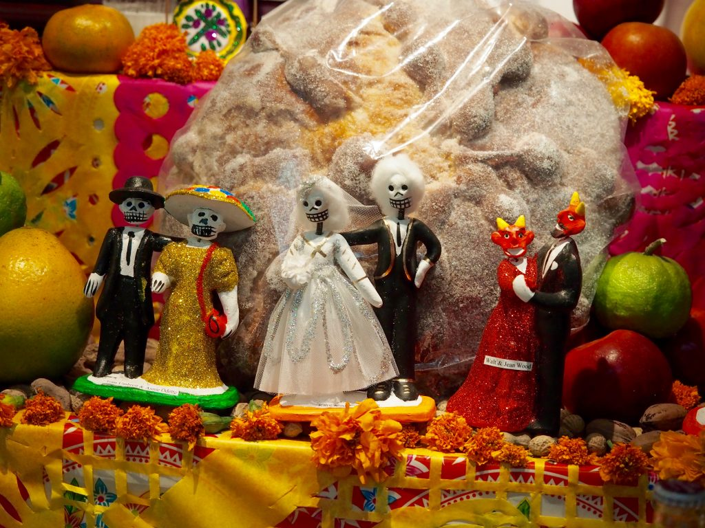 day of the dead display in oaxaca in november, one of the most popular things to see in oaxaca city