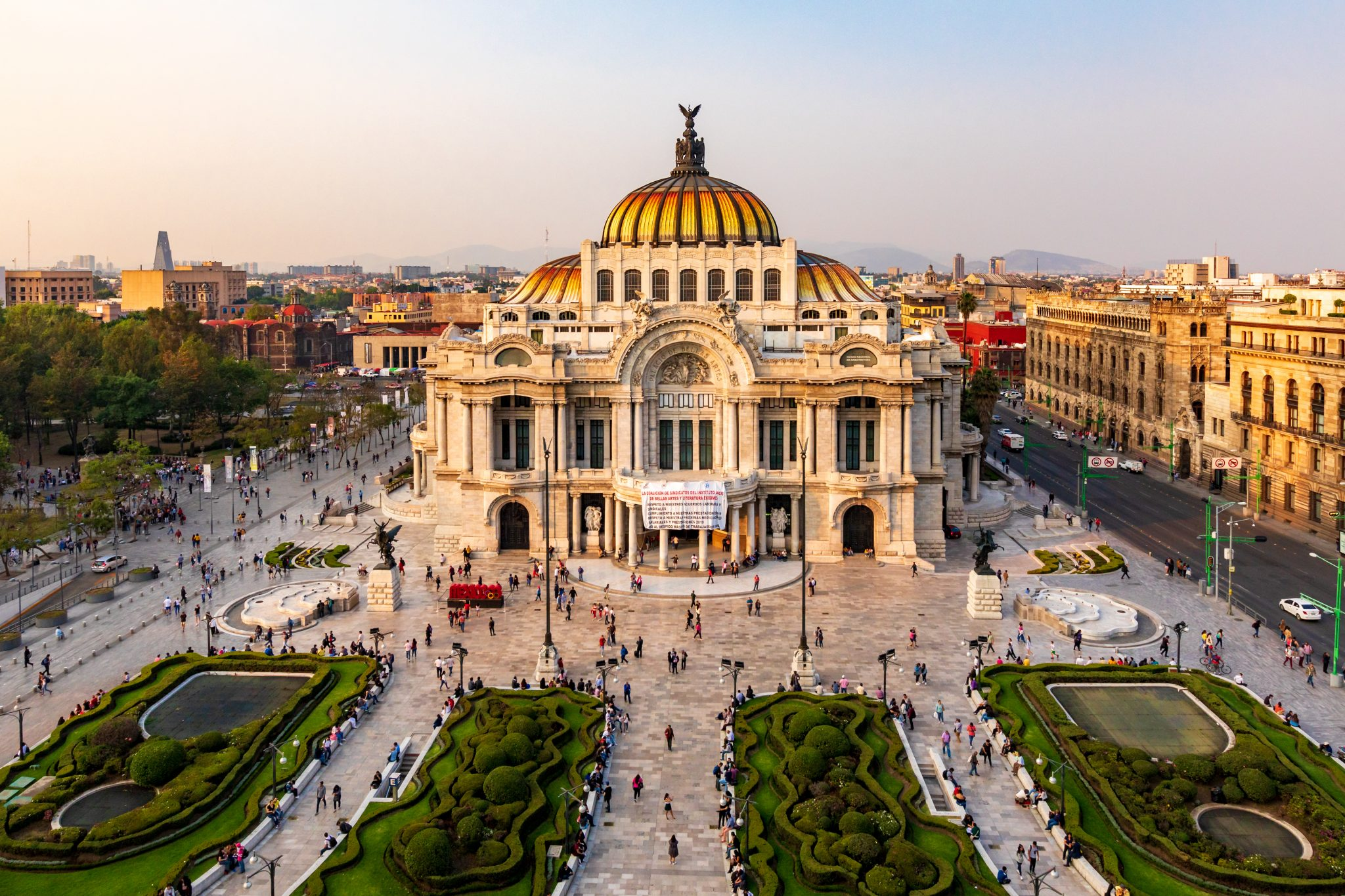 aerial view of palacio de bellas artes, one of the best places to visit during 3 days in mexico city itinerary