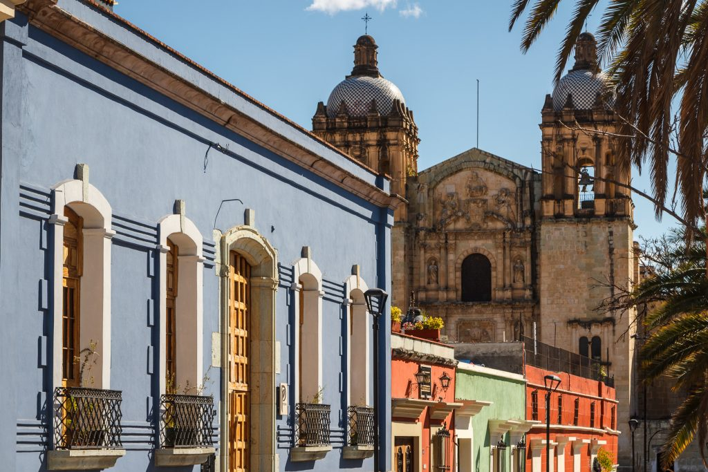 colorful colonial street in oaxaca city mexico