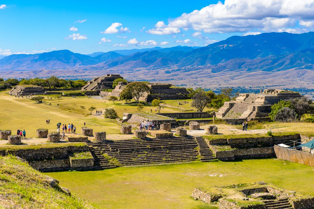 monte alban as seen from above, one of the best places to visit in oaxaca