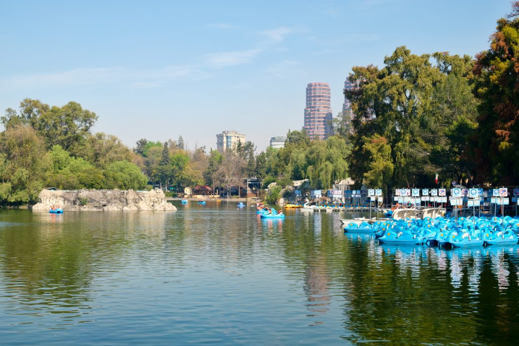 lake in chapultepec park mexico city with rowboats to the right