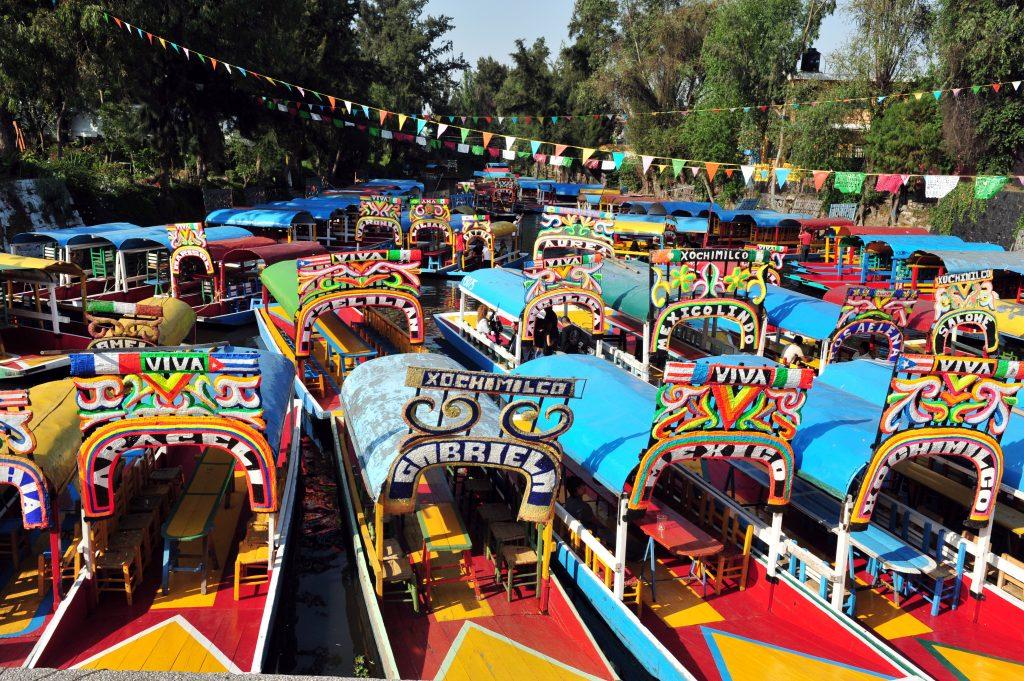 colorful boats of xochimilco in mexico city