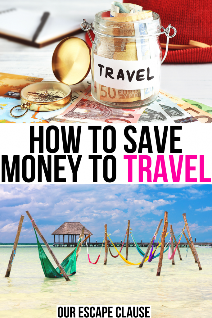 "2 photos, one of a jar with money in it marked travel and one of hammocks on isla holbox. black and pink text on a white background reads ""how to save money to travel"""