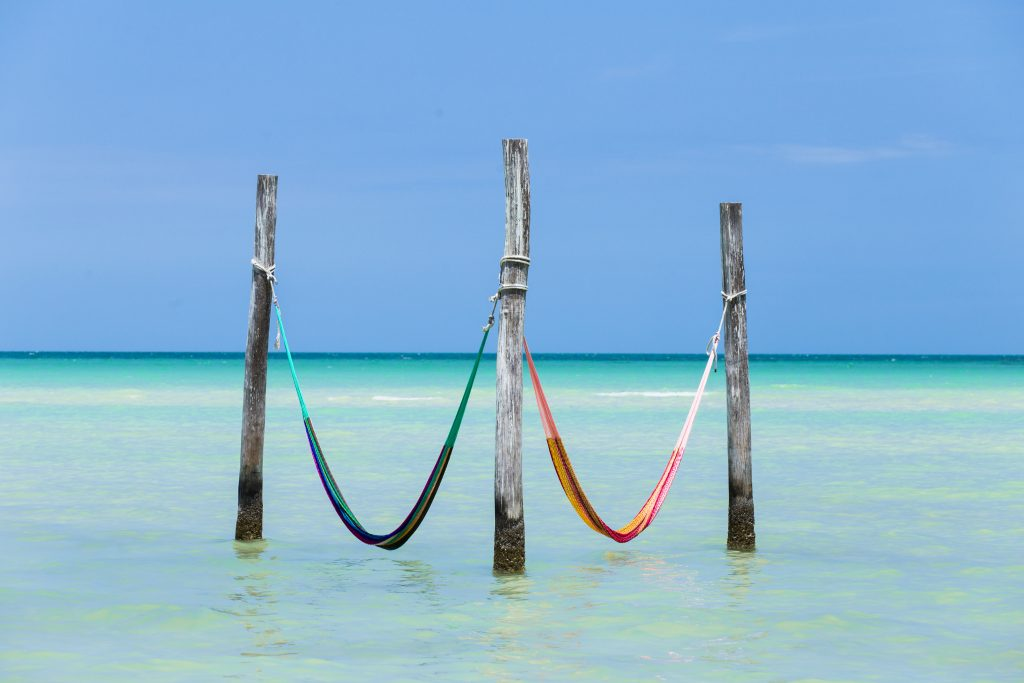 two hammocks in the water, fun things to do on holbox mexico