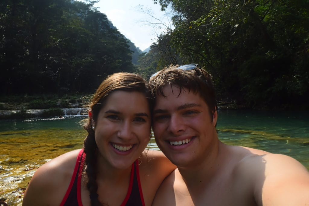 2 Week Guatemala Itinerary: Couple at Semuc Champey