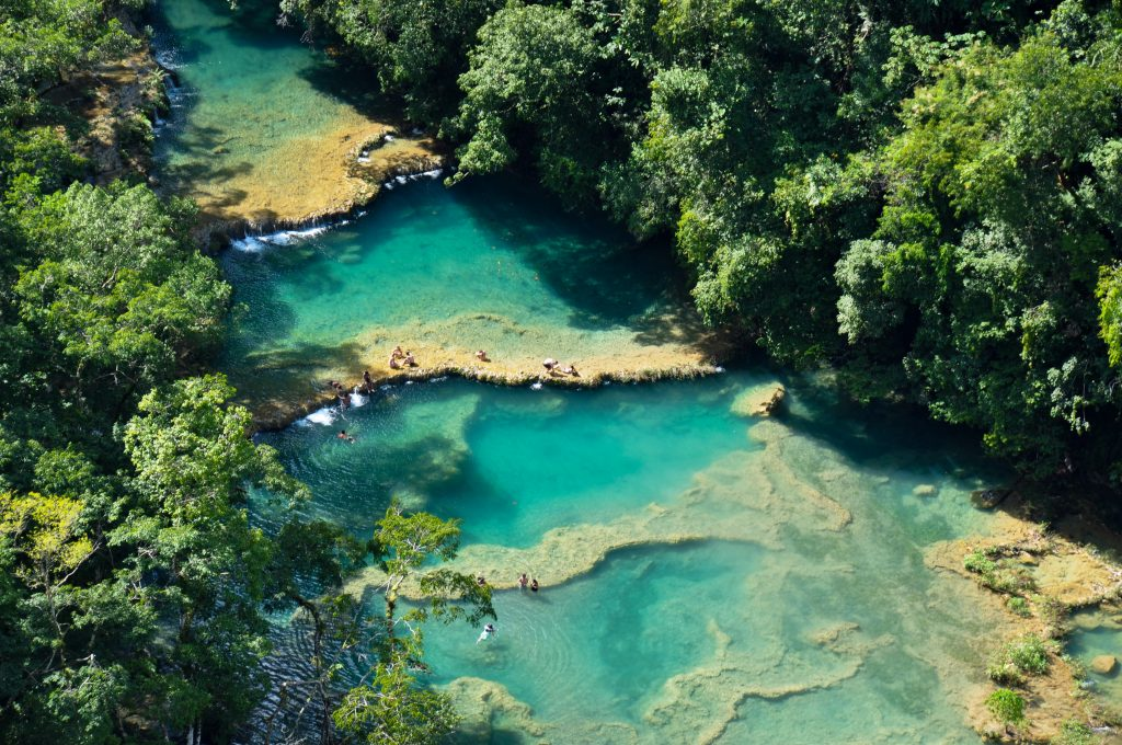 pools of semuc champey guatemala as seen from above